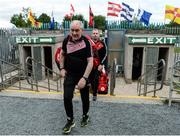 16 July 2017; Tyrone manager Mickey Harte arrives before the Ulster GAA Football Senior Championship Final match between Tyrone and Down at St Tiernach's Park in Clones, Co. Monaghan. Photo by Stephen McCarthy/Sportsfile