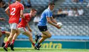 16 July 2017; James Madden of Dublin races past James O'Reilly of Louth to score a goal in the 7th minute of the Electric Ireland Leinster GAA Football Minor Championship Final match between Dublin and Louth at Croke Park in Dublin. Photo by Ray McManus/Sportsfile
