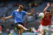 16 July 2017; Kieran Kennedy of Dublin in action against Ben Mooney of Louth during the Electric Ireland Leinster GAA Football Minor Championship Final match between Dublin and Louth at Croke Park in Dublin. Photo by Ray McManus/Sportsfile