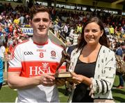 16 July 2017; Padraig McGrogan of Derry  is presented with his Man of The Match award from Lisa McEneaney of Electric Ireland after the Electric Ireland Ulster GAA Football Minor Championship Final match between Cavan and Derry at St Tiernach's Park in Clones, Co. Monaghan. Photo by Oliver McVeigh/Sportsfile