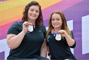16 July 2017; Orla Barry and Niamh McCarthy, with their silver medals during the 2017 Para Athletics World Championships Day 3 at the Olympic Stadium in London. Photo by Luc Percival/Sportsfile