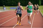 16 July 2017; James Maguire, left, Dundrum South Dublin AC, on his way to winning the Boy's Under18 1500m event, ahead of Conor Ryan, right, Templemore AC, Co.Tipperary, during the AAI Juvenile Championships Day 3 in Tullamore, Co Offaly. Photo by Tomás Greally/Sportsfile