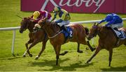 16 July 2017; Surrounding, centre, with Shane Foley up, race alongside Stormy Belle, left, with Pat Smullen up, who finished second, and New Terms, right, with Kevin Manning up, who finished third, on their way to winning the Irish Stallion Farms EBF Fillies Handicap during Day 2 of the Darley Irish Oaks Weekend at the Curragh in Kildare. Photo by Cody Glenn/Sportsfile