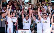 16 July 2017; Sean Cavanagh of Tyrone holds aloft the Anglo-Celt Cup after the Ulster GAA Football Senior Championship Final match between Tyrone and Down at St Tiernach's Park in Clones, Co. Monaghan. Photo by Oliver McVeigh/Sportsfile