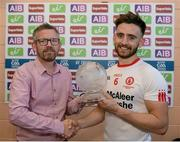 16 July 2017; Pádraig Hampsey of Tyrone recives the AIB/RTE man of the match award from Seamus Murphy AIB after the Ulster GAA Football Senior Championship Final match between Tyrone and Down at St Tiernach's Park in Clones, Co. Monaghan. Photo by Oliver McVeigh/Sportsfile
