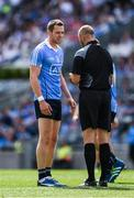 16 July 2017; Dean Rock of Dublin receives a black card from referee Anthony Nolan in the 24th minute Leinster GAA Football Senior Championship Final match between Dublin and Kildare at Croke Park in Dublin. Photo by Ray McManus/Sportsfile