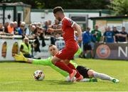 16 July 2017; Sean Maguire of Cork City in action against  Peter Cherrie of Bray Wanderers during the SSE Airtricity League Premier Division match between Bray Wanderers and Cork City at the Carlisle Grounds in Bray, Co. Wicklow. Photo by David Maher/Sportsfile