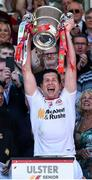 16 July 2017; Sean Cavanagh of Tyrone holds aloft the Anglo Celt cup after the Ulster GAA Football Senior Championship Final match between Tyrone and Down at St Tiernach's Park in Clones, Co. Monaghan. Photo by Oliver McVeigh/Sportsfile