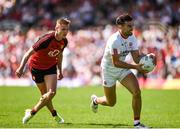 16 July 2017; Tiernan McCann of Tyrone in action against Caolan Mooney of Down during the Ulster GAA Football Senior Championship Final match between Tyrone and Down at St Tiernach's Park in Clones, Co. Monaghan. Photo by Philip Fitzpatrick/Sportsfile