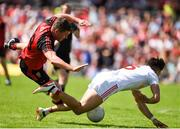 16 July 2017; Tiernan McCann of Tyrone in action against Peter Turley of Down during the Ulster GAA Football Senior Championship Final match between Tyrone and Down at St Tiernach's Park in Clones, Co. Monaghan. Photo by Philip Fitzpatrick/Sportsfile
