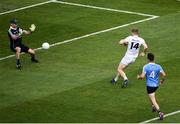 16 July 2017; Daniel Flynn of Kildare sees his shot saved by Stephen Cluxton of Dublin during the Leinster GAA Football Senior Championship Final match between Dublin and Kildare at Croke Park in Dublin. Photo by Seb Daly/Sportsfile