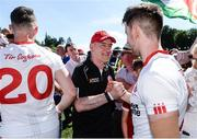 16 July 2017; Tyrone manager Mickey Harte with Pádraig Hampsey of Tyrone  after the Ulster GAA Football Senior Championship Final match between Tyrone and Down at St Tiernach's Park in Clones, Co. Monaghan. Photo by Oliver McVeigh/Sportsfile