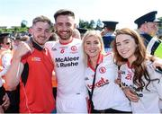 16 July 2017; Pádraig Hampsey of Tyrone  celebrates with fans after the Ulster GAA Football Senior Championship Final match between Tyrone and Down at St Tiernach's Park in Clones, Co. Monaghan. Photo by Oliver McVeigh/Sportsfile