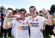16 July 2017; Lee Brennan and David Mulgrew of Tyrone celebrate after the Ulster GAA Football Senior Championship Final match between Tyrone and Down at St Tiernach's Park in Clones, Co. Monaghan. Photo by Oliver McVeigh/Sportsfile