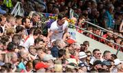 16 July 2017; Sean Cavanagh of Tyrone takes his place in the stand after being substituted early in the second half during the Ulster GAA Football Senior Championship Final match between Tyrone and Down at St Tiernach's Park in Clones, Co. Monaghan. Photo by Oliver McVeigh/Sportsfile