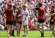 16 July 2017; Kieran McGeary of Tyrone reministrates with Referee Joe McQuillan befor he receives a black card in the first half during the Ulster GAA Football Senior Championship Final match between Tyrone and Down at St Tiernach's Park in Clones, Co. Monaghan. Photo by Oliver McVeigh/Sportsfile