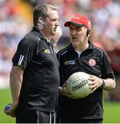 16 July 2017; Tyrone manager Mickey Harte with Gavin Devlin, assistant manager, before the Ulster GAA Football Senior Championship Final match between Tyrone and Down at St Tiernach's Park in Clones, Co. Monaghan. Photo by Oliver McVeigh/Sportsfile
