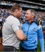 16 July 2017; Managers Cian O'Neill of Kildare, left, and Jim Gavin of Dublin, right, shake hands following the Leinster GAA Football Senior Championship Final match between Dublin and Kildare at Croke Park in Dublin. Photo by Seb Daly/Sportsfile
