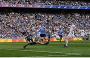 16 July 2017; Stephen Cluxton of Dublin saves a shot from Daniel Flynn of Kildare during the Leinster GAA Football Senior Championship Final match between Dublin and Kildare at Croke Park in Dublin. Photo by Seb Daly/Sportsfile