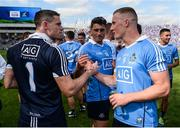 16 July 2017; Stephen Cluxton of Dublin and team-mate Ciarán Kilkenny congratulate each other following their side's victory during the Leinster GAA Football Senior Championship Final match between Dublin and Kildare at Croke Park in Dublin. Photo by Seb Daly/Sportsfile