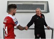 16 July 2017; Manager of Cork City John Caulfield shakes hands with Sean Maguire at the end of the SSE Airtricity League Premier Division match between Bray Wanderers and Cork City at the Carlisle Grounds in Bray, Co. Wicklow. Photo by David Maher/Sportsfile