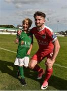 16 July 2017; Tim O'Donoghue, age 6, with Sean Maguire at the end of the SSE Airtricity League Premier Division match between Bray Wanderers and Cork City at the Carlisle Grounds in Bray, Co. Wicklow. Photo by David Maher/Sportsfile