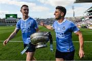 16 July 2017; Brian Fenton, left, and Bernard Brogan of Dublin celebrate with The Delaney Cup after the Leinster GAA Football Senior Championship Final match between Dublin and Kildare at Croke Park in Dublin. Photo by Piaras Ó Mídheach/Sportsfile