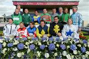16 July 2017; Winning jockey Lynne McLoughlin top row, centre, and fellow jockeys after the Corinthian Challenge Charity Race Series during Day 2 of the Darley Irish Oaks Weekend at the Curragh in Kildare. Photo by Cody Glenn/Sportsfile