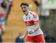 16 July 2017; Ben McCarron of Derry celebrates after scoring is sides second goal during the Electric Ireland Ulster GAA Football Minor Championship Final match between Cavan and Derry at St Tiernach's Park in Clones, Co. Monaghan. Photo by Oliver McVeigh/Sportsfile