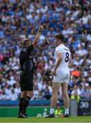 16 July 2017; Kevin Feely of Kildare receives a black card from referee Anthony Nolan during the Leinster GAA Football Senior Championship Final match between Dublin and Kildare at Croke Park in Dublin. Photo by Ray McManus/Sportsfile