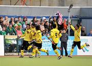 17 March 2012; Fiqri Nabil Mohd Noor, far left, Malaysia, celebrates with his team-mates after scoring his side's first goal. Men's 2012 Olympic Qualifying Tournament, Ireland v Malaysia, National Hockey Stadium, UCD, Belfield, Dublin. Picture credit: Barry Cregg / SPORTSFILE
