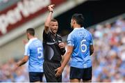 16 July 2017; Referee Anthony Nolan shows the yellow card to Cian O'Sullivan of Dublin during the Leinster GAA Football Senior Championship Final match between Dublin and Kildare at Croke Park in Dublin. Photo by Piaras Ó Mídheach/Sportsfile