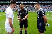 16 July 2017; Referee Anthony Nolan with team captains Eoin Doyle of Kildare, left, and Stephen Cluxton of Dublin before the Leinster GAA Football Senior Championship Final match between Dublin and Kildare at Croke Park in Dublin. Photo by Piaras Ó Mídheach/Sportsfile