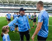 16 July 2017; Paul Mannion of Dublin and manager Jim Gavin with Angelina Rider after the Leinster GAA Football Senior Championship Final match between Dublin and Kildare at Croke Park in Dublin. Photo by Piaras Ó Mídheach/Sportsfile