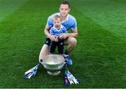 16 July 2017; Dean Rock of Dublin and his nephew Eli D'Arcy with The Delaney Cup after he Leinster GAA Football Senior Championship Final match between Dublin and Kildare at Croke Park in Dublin. Photo by Piaras Ó Mídheach/Sportsfile