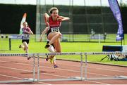 16 July 2017; Eimear Kelly, City of Derry AC Spartans, in action during the Girl's Under 16 250m Hurdles event,      during the AAI Juvenile Championships Day 3 in Tullamore, Co Offaly. Photo by Tomás Greally/Sportsfile