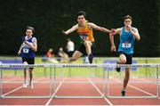 16 July 2017; Conor Hanrahan, centre, Brothers Pearse AC, Dublin, with Darragh Courtney, right, St. Brendan's AC, Co.Kerry, and left, Christopher Kearns, Finn Valley AC, Co.Donegal, in action during the Boy's Under 17  heat 1, 350m Hurdles event, during the AAI Juvenile Championships Day 3 in Tullamore, Co Offaly. Photo by Tomás Greally/Sportsfile