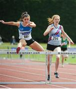 16 July 2017; Ella Duane, left, St Laurence O'Toole AC, with right, Molly Hourihan, Dundrum South Dublin AC, on her way to winning the Girl's Under 17 300m Hurdles event, during the AAI Juvenile Championships Day 3 in Tullamore, Co Offaly. Photo by Tomás Greally/Sportsfile