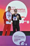 17 July 2017; Jason Smyth receives his Gold medal after he finished first in the Men's T13 100m during day 3 of the 2017 Para Athletics World Championships at the Olympic Stadium in London.  Mateusz Michalski from Poland, left, with his silver medal. Photo by Luc Percival/Sportsfile