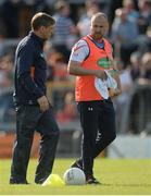 8 July 2017; Armagh manager Kieran McGeeney, left, with selector Paddy McKeever before the GAA Football All-Ireland Senior Championship Round 2B match between Westmeath and Armagh at TEG Cusack Park in Mullingar, Co Westmeath. Photo by Piaras Ó Mídheach/Sportsfile
