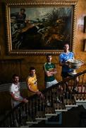 18 July 2017; In attendance during the 2017 GAA Football All Ireland Senior Championship Series National Launch at The Argory are, from left, Ronan McNamee of Tyrone, Ciaran Murtagh of Roscommon, Killian Young of Kerry, and Ciarán Kilkenny of Dublin, with the Sam Maguire Cup. Photo by Cody Glenn/Sportsfile