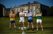 18 July 2017; In attendance during the 2017 GAA Football All Ireland Senior Championship Series National Launch at The Argory are, from left, Ciaran Murtagh of Roscommon, Ronan McNamee of Tyrone, Ciarán Kilkenny of Dublin, and Killian Young of Kerry, with the Sam Maguire Cup. Photo by Cody Glenn/Sportsfile