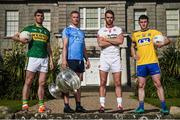 18 July 2017; In attendance during the 2017 GAA Football All Ireland Senior Championship Series National Launch at The Argory are, from left, Killian Young of Kerry, Ciarán Kilkenny of Dublin, Ronan McNamee of Tyrone, and Ciaran Murtagh of Roscommon, with the Sam Maguire Cup. Photo by Cody Glenn/Sportsfile
