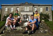 18 July 2017; In attendance during the 2017 GAA Football All Ireland Senior Championship Series National Launch at The Argory are, from left, Ronan McNamee of Tyrone, Killian Young of Kerry, Ciarán Kilkenny of Dublin, and Ciaran Murtagh of Roscommon, with the Sam Maguire Cup. Photo by Cody Glenn/Sportsfile