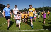 18 July 2017; In attendance during the 2017 GAA Football All Ireland Senior Championship Series National Launch at Loughmacrory St. Teresa's GAA Club, Loughmacrory, Co Tyrone, are, from left, Ciarán Kilkenny of Dublin, Ronan McNamee of Tyrone, and Ciaran Murtagh of Roscommon, with club players from the host club. Photo by Cody Glenn/Sportsfile