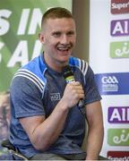 18 July 2017; In attendance during the 2017 GAA Football All Ireland Senior Championship Series National Launch at Loughmacrory St. Teresa's GAA Club, Loughmacrory, Co Tyrone, is Ciarán Kilkenny of Dublin during Q&As. Photo by Cody Glenn/Sportsfile