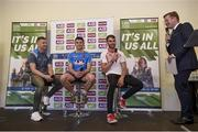 18 July 2017; In attendance during the 2017 GAA Football All Ireland Senior Championship Series National Launch at Loughmacrory St. Teresa's GAA Club, Loughmacrory, Co Tyrone, are, from left, Ciarán Kilkenny of Dublin, Ciaran Murtagh of Roscommon and Ronan McNamee of Tyrone during Q&As with Darragh Maloney of RTÉ. Photo by Cody Glenn/Sportsfile