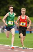 15 July 2017; Tommy Connolly of CBC Cork, representing Ireland, left, and James Penrose of Wwycliff School, South East Wales, representing Wales, during the Boys 1500m event during the SIAB T&F Championships at Morton Stadium in Santry, Co. Dublin. Photo by Piaras Ó Mídheach/Sportsfile