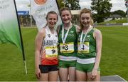 15 July 2017; Medal winners, from left, Lucy Lewis-Ward James Allen Girls, London, representing England, third place, Sarah Glennon of St Finians College, representing Ireland, winner, and Maria Flynn of St Mary's College, Naas, representing Ireland, second place, after the Girls 3km Walk event during the SIAB T&F Championships at Morton Stadium in Santry, Co. Dublin. Photo by Piaras Ó Mídheach/Sportsfile