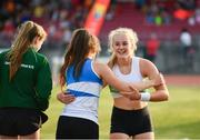 18 July 2017; Emma Coffey of Carraig-Na-Bhfear AC, Co. Cork, celebrates with Ella Duane of St Laurence O'Toole AC, Co. Co Carlow,  after setting a new personal best of 3.40m on her way to winning the Women's Pole Vault  during the Cork City Sports event at CIT in Co. Cork. Photo by Sam Barnes/Sportsfile